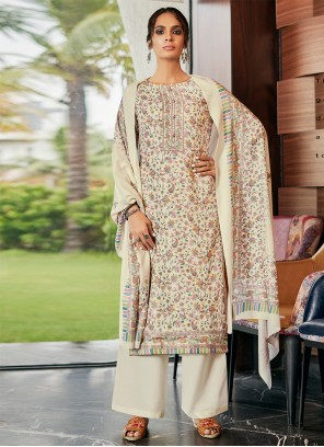 Cream Casual Pashmina Designer Palazzo Salwar Suit