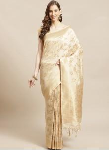 Cream Ceremonial Silk Designer Traditional Saree