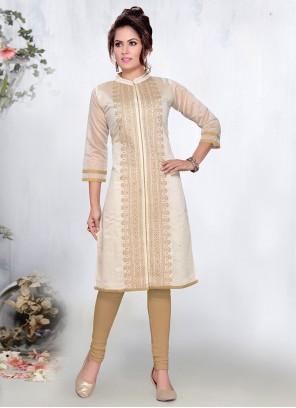 Cream Chanderi Designer Kurti