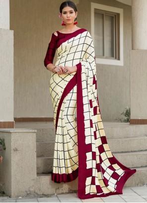 Cream Checks Art Silk Designer Saree
