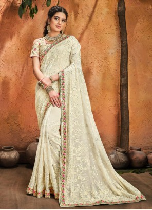Cream Classic Designer Saree