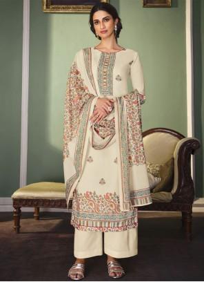Cream Color Designer Palazzo Salwar Kameez