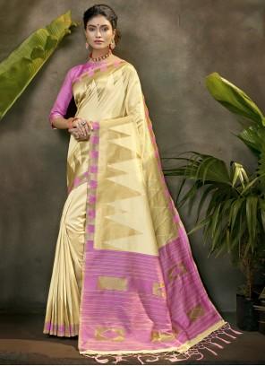 Cream Color Designer Traditional Saree