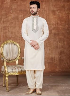 Cream Color Cotton Pathani Suits
