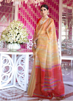 Cream Color Traditional Saree