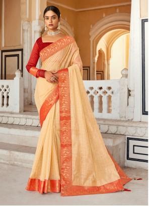 Cream Cotton Weaving Zari Casual Saree