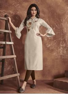 Cream Cotton Embroidered Party Wear Kurti
