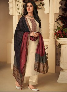 Cream Cotton Mehndi Pant Style Suit