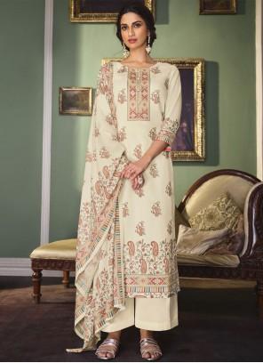 Cream Digital Print Designer Palazzo Suit