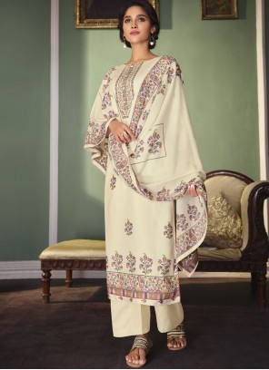 Cream Digital Print Satin Designer Palazzo Salwar Suit