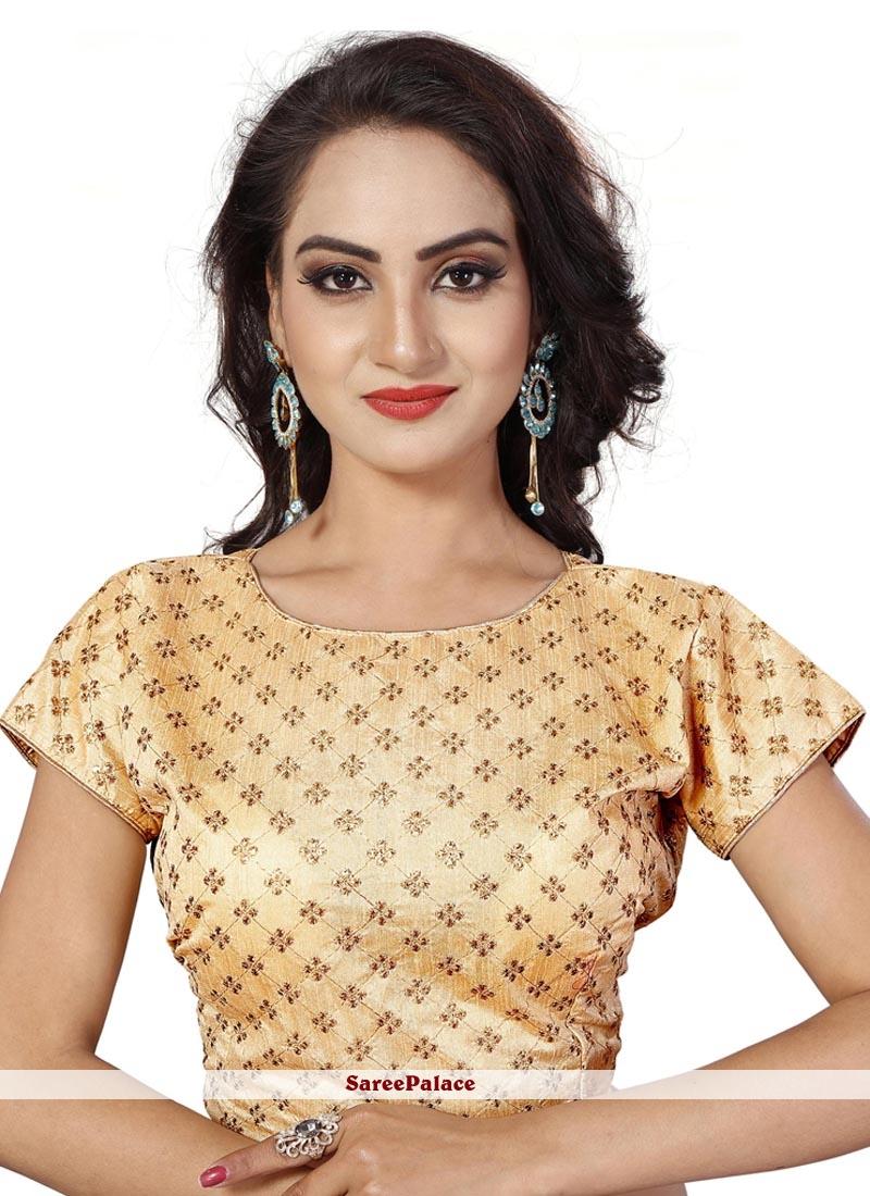 61a627703f Buy Cream Embroidered Art Silk Cotton Designer Blouse Online