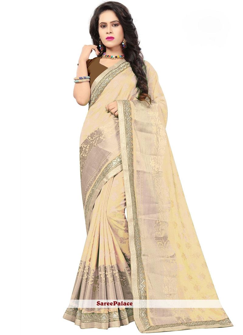 Cream Embroidered Classic Saree