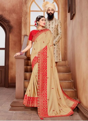 Cream Embroidered Contemporary Saree