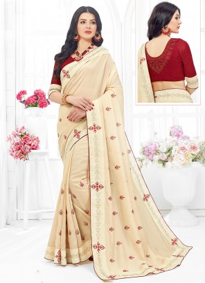 Cream Embroidered Fancy Fabric Classic Designer Saree