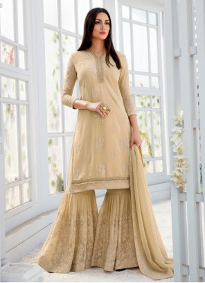 Cream Embroidered Faux Georgette Designer Palazzo Salwar Suit