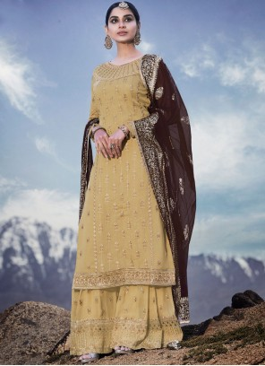 Cream Embroidered Faux Georgette Designer Palazzo Suit