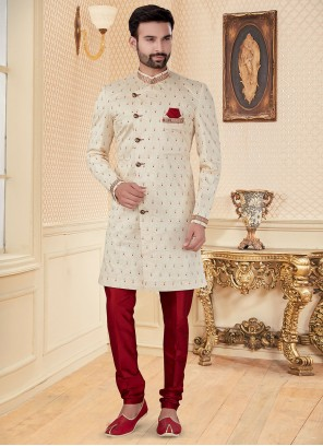 Cream Embroidered Indo Western Sherwani