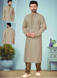 Cream Embroidered Kurta Pyjama