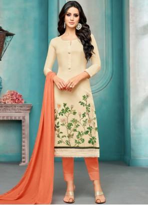 Cream Embroidered Maslin Silk Salwar Kameez