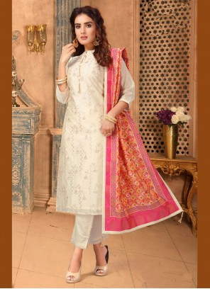 Cream Embroidered Mehndi Pant Style Suit