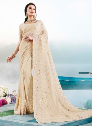 Cream Embroidered Party Trendy Saree