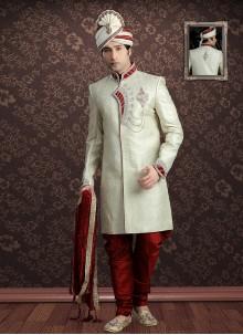 Cream Embroidered Sherwani