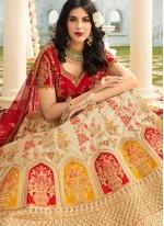 Cream Embroidered Silk A Line Lehenga Choli