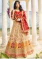 Cream Embroidered Silk A Line Lehenga Choli
