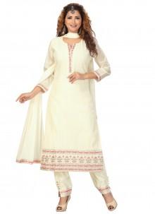 Cream Fancy Chanderi Readymade Suit