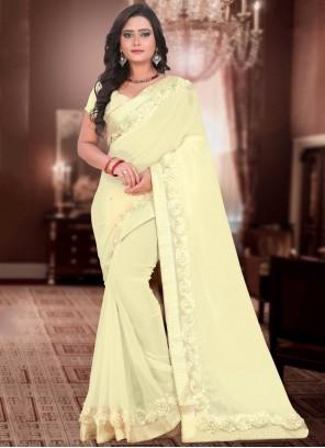 Cream Fancy Classic Designer Saree
