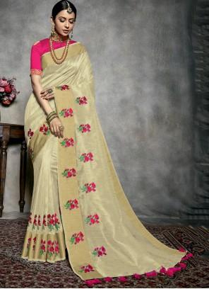 Cream Fancy Designer Traditional Saree