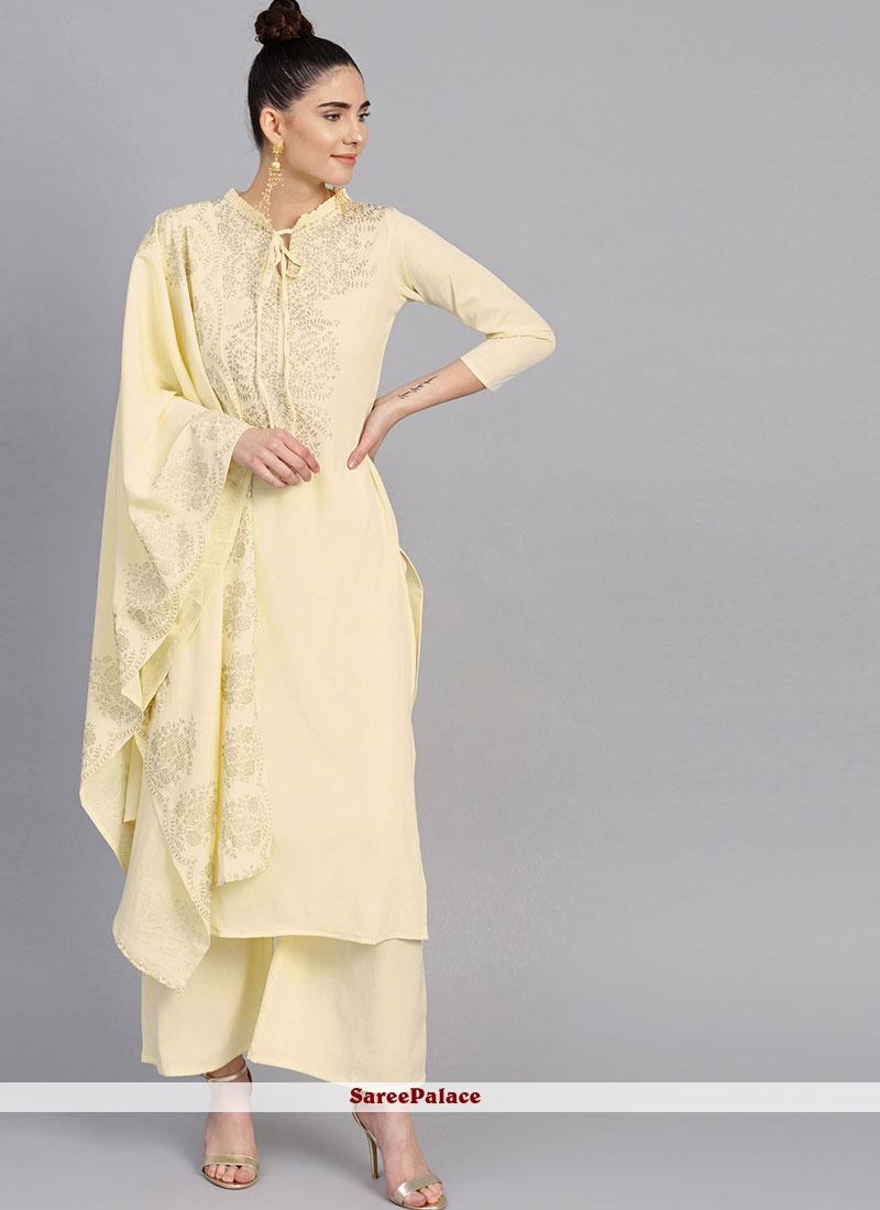 Cream Fancy Faux Crepe Readymade Suit