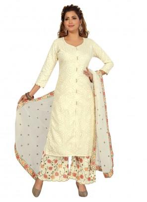 Cream Fancy Silk Readymade Suit