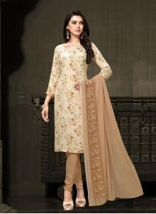 Cream Faux Crepe Printed Designer Salwar Suit