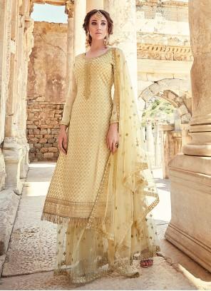 Cream Faux Georgette Designer Palazzo Suit