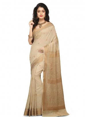 Cream Festival Art Banarasi Silk Designer Traditional Saree