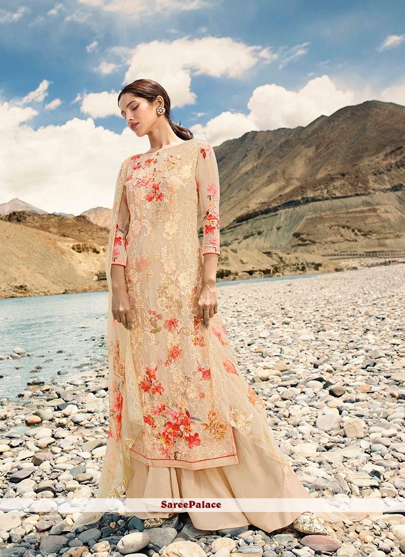 Cream Festival Designer Pakistani Suit