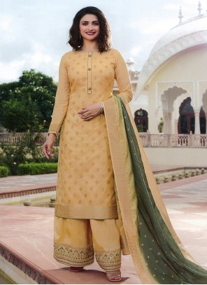Cream Festival Silk Palazzo Suit