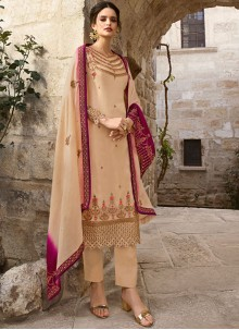 Cream Georgette Designer Salwar Kameez