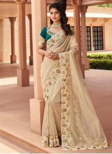 Cream Georgette Resham Trendy Saree