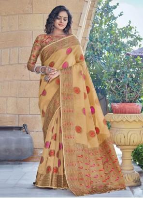 Cream Handloom Cotton Woven Classic Designer Saree