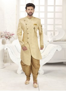 Cream Jacquard Embroidered Indo Western