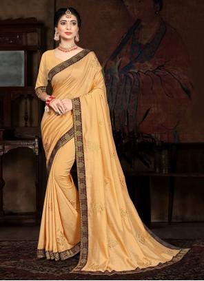 Cream Vichitra silk Lace Traditional Saree
