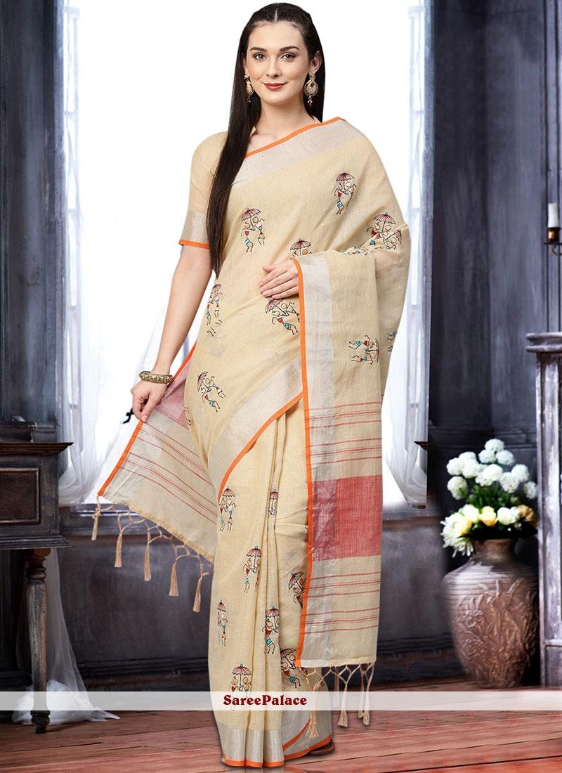 Cream Linen Classic Designer Saree