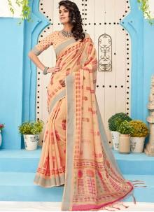 Cream Linen Designer Saree
