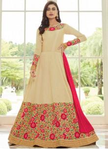 Cream Malbari Silk  Anarkali Salwar Kameez