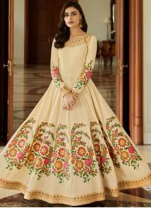 Cream Malbari Silk  Embroidered Anarkali Salwar Suit