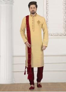 Cream Mehndi Art Banarasi Silk Kurta Pyjama
