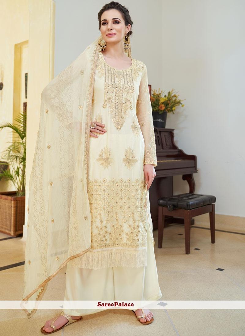 Cream Mehndi Designer Palazzo Salwar Suit