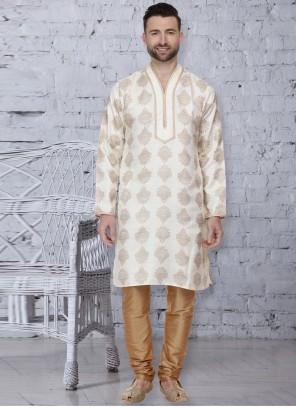 Cream Mehndi Dupion Silk Kurta Pyjama